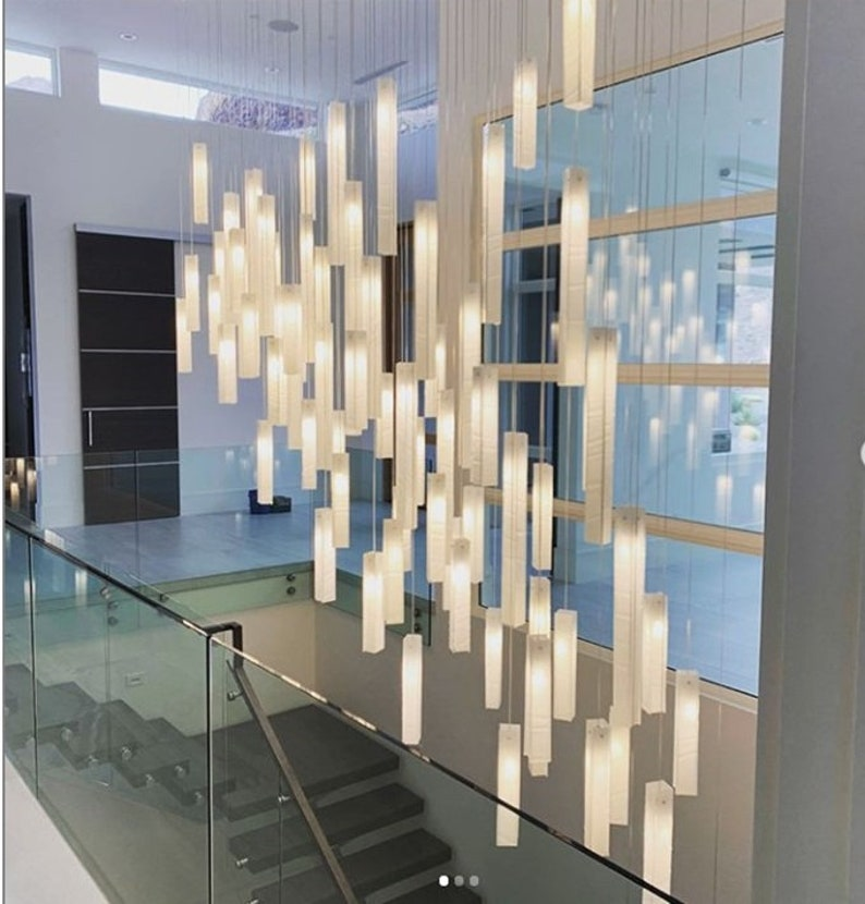 Stairway Hanging Light, Modern Chandelier For High Ceiling Spaces, Fully  Customized