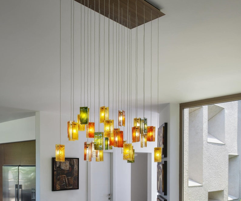 Rustic Chandelier For Dining Room Lighting In Warm Amber And Cozy Colours Customized For Your Choice