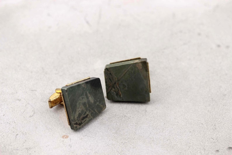 Whale back square cufflinks Vintage mens gift Mid-century geometric style Brass cufflinks Classic accessories Natural green stone jasper