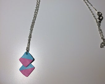 Blue and pastel pink geometric necklace
