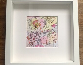 Original framed contemporary abstract pastel watercolour make believe, dream
