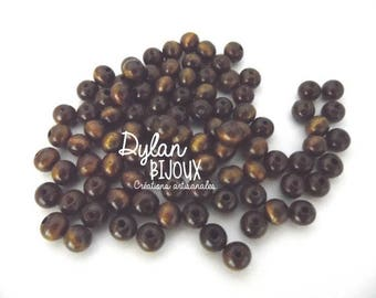 25 colored wooden beads Brown 8 mm
