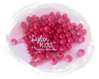 25 wood beads Fuchsia 8 mm