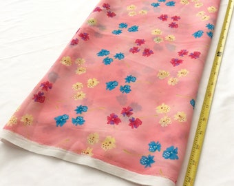 """2 yards & 24 inch length of shear crape, pink, yellow, magenta, blue, floral print. 44"""" wide"""