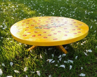 Wooden cake stand, serving, display tray, decoupage, rustic stand, shabby chic cake stand.
