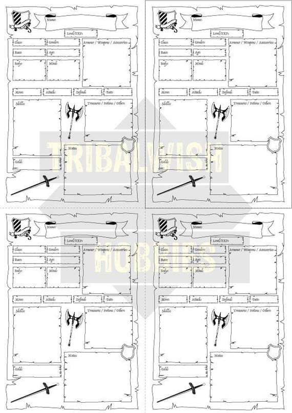 photograph relating to Printable Character Sheet called Heroquest Identity Sheet, Printable Electronic Down load, Dungeon, Boardgaming, Heroquest, Identity Design and style, Dungeons and Dragons, Warhammer