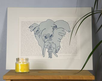 Elephant illustration art. Elephant Wikipedia. Wall art decor. Beautiful gift for her and gift for him.