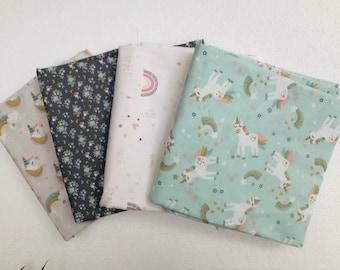 lot 4 coupons children's fabrics with unicorns, rainbow and flowers, oeko tex fabrics, assortment child fabrics, poach, wipes
