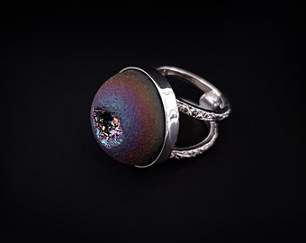 Sterling Silver Ring With Titanium Coated Quartz Druse