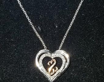 5295edf7a Jane Seymour 10K Rose Gold & Sterling Diamond Open Heart Pendant Necklace