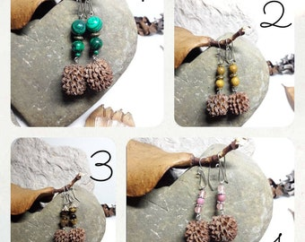 Earrings seeds filaos and Malachite, Tiger eye, wood fossil gemstone bead, rose quartz and rhodonite Crochet handmade