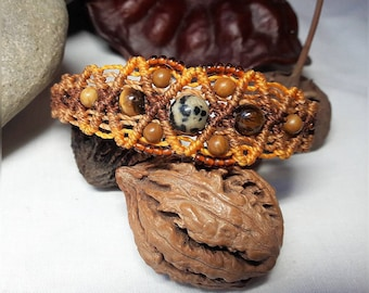 Macrame bracelet Brown with gemstone Jasper Dalmatian, Tiger eye and wood lace