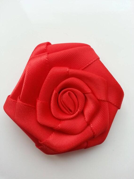 5cm Fleur De Satin Bouton De Rose Rouge Etsy