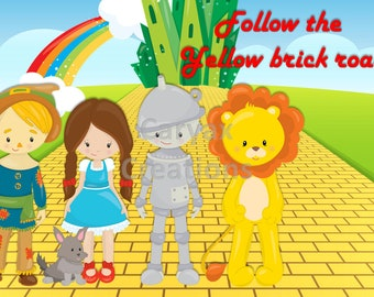 Follow the yellow brick road. Dorothy Good witch. digital image