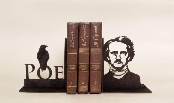 Edgar Allan Poe Handmade Bookends Nursery Decor First Etsy
