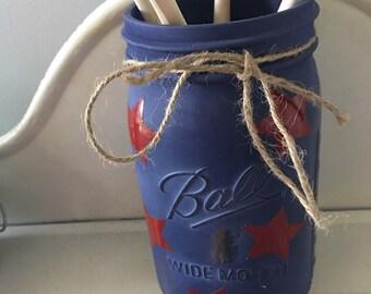 Quart wide mouth mason jar utensil holder