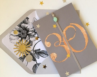 Stunning Luxury Personalised Copper Birthday and Occasion Card