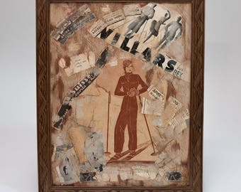 "Wall decor, original oil painting on wood, paint, paper, ink, vintage, frame, ""an elegant ski"""