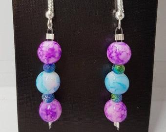 Purple/Blue glass marble bead drop earrings