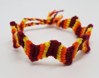 Zigzag friendship bracelet - Maroon/orange/yellow (small adult/large child size)
