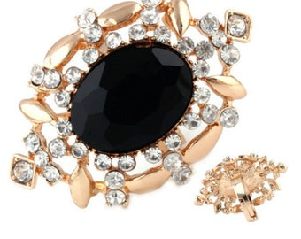 1 baroque gold tone and Crystal rhinestone ring