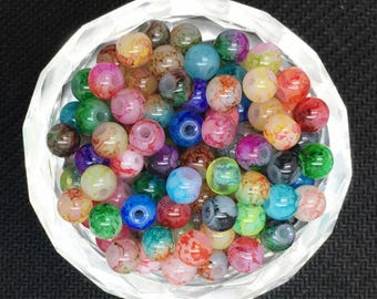 60 4 mm marbled glass beads