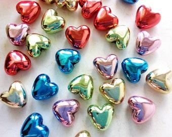 30 bright hearts made of acrylic beads