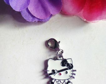 pirate 1 cat shaped charm/charms in metal and enamel