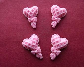 Shape heart lollipop (x 4) pink resin cabochons