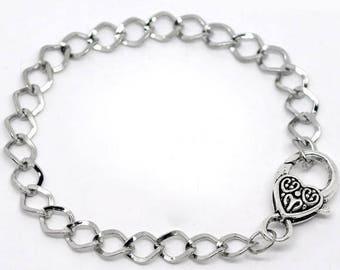 Support (x 1) antique silver metal link bracelet