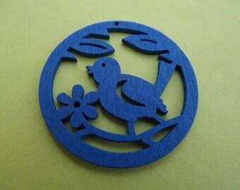Wooden Blue Bird charm/pendant