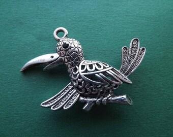 3 D silver metal openwork bird charm/pendant