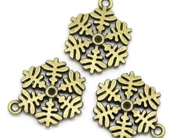 4 charms large snowflake metal bronze