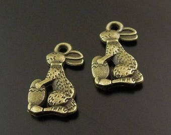 10 Easter bunnies in antique bronze charms
