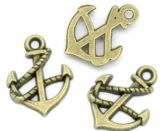 Small charm anchor bronze metal (x 5)