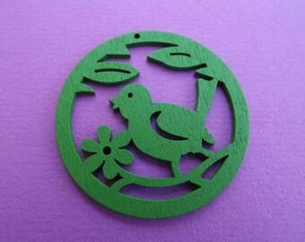Green wood bird charm/pendant