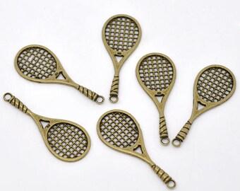 Large metal tennis racket bronze 1 pendant