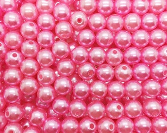 40 beads 4 mm pink acrylic Pearl
