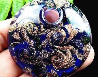 Blue glitter inlay lampwork pendant gold