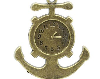 Anchor and (x 1) bronze metal clock charm/pendant