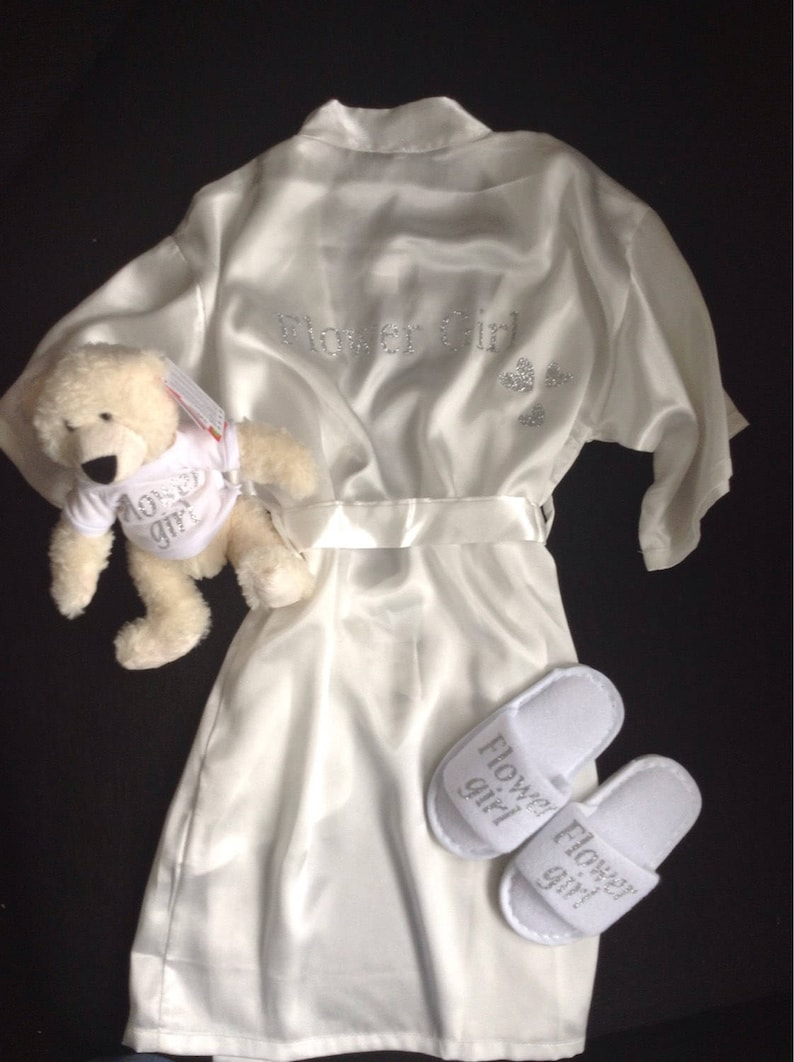 83da4f67986 Flower girl bridesmaid kids ivory satin robe gown all ages.