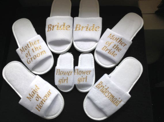 482c5ad0fbf66 Wedding guests GOLD SPARKLE slippers bride slippers