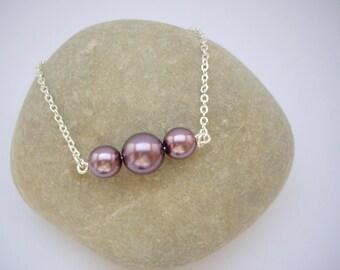 Purple beads Trio bracelet - Silver