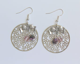 Earrings Silver Bow print and purple beads