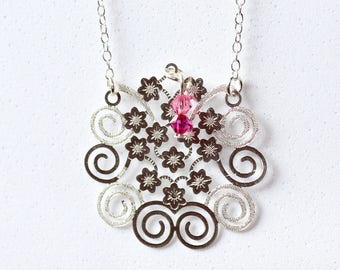 Necklace silver Fireworks Forever Silver™ and pink beads
