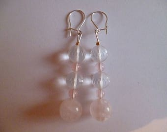 Rose quartz and rock crystal earrings