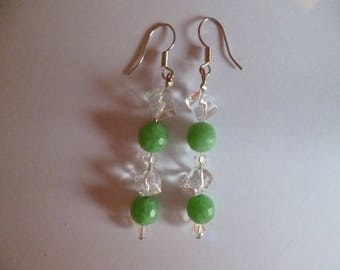 Green and clear earrings