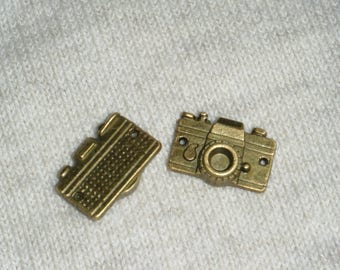 Set of 3 charms camera - old gold - 1.5x1cm