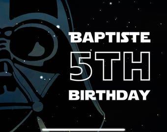 For a Star Wars birthday invitation card