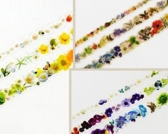 Yano Design Flower Washi Tape - Round Top Masking Tape Flower Line - You choose decorative tape, gift wrapping